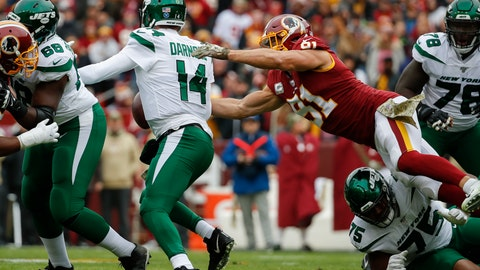 <p>               Washington Redskins outside linebacker Ryan Kerrigan (91) causes New York Jets quarterback Sam Darnold (14) to fumble in the first half of an NFL football game, Sunday, Nov. 17, 2019, in Landover, Md. (AP Photo/Alex Brandon)             </p>
