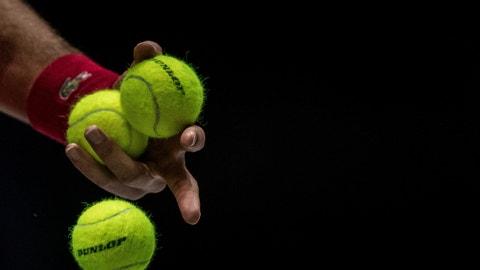 <p>               Serbia's Novak Djokovic serves to Russia's Karen Khachanov during their Davis Cup tennis match in Madrid, Spain, Friday, Nov. 22, 2019. (AP Photo/Bernat Armangue)             </p>