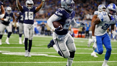 <p>               Dallas Cowboys running back Ezekiel Elliott (21) runs into the end zone for a touchdown during the second half of an NFL football game against the Detroit Lions, Sunday, Nov. 17, 2019, in Detroit. (AP Photo/Paul Sancya)             </p>