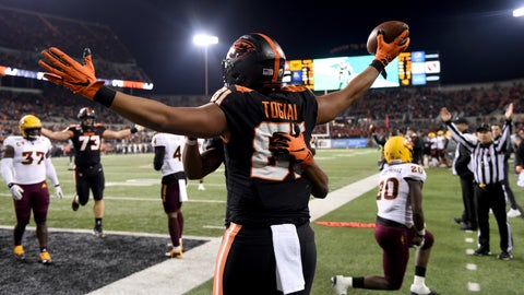 <p>               Oregon State tight end Noah Togiai celebrates after scoring a touchdown during the second half of an NCAA college football game against Arizona State in Corvallis, Ore., Saturday, Nov. 16, 2019. (AP Photo/Steve Dykes)             </p>