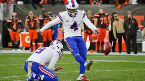 <p>               Buffalo Bills kicker Stephen Hauschka (4) misses a 53-yard field goal late during the second half of an NFL football game against the Cleveland Browns, Sunday, Nov. 10, 2019, in Cleveland. (AP Photo/Ron Schwane)             </p>