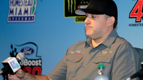 <p>               Team owner Tony Stewart takes questions during a NASCAR Cup Series auto race press conference Friday, Nov. 15, 2019, at Homestead-Miami Speedway in Homestead, Fla. Tony Stewart is set to become a NASCAR Hall of Famer. But adding another championship might mean even more.  (AP Photo/Terry Renna)             </p>