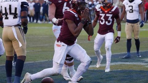 <p>               Virginia Tech quarterback Hendon Hooker (2) recast after scoring a touchdown on a short run in the first half of an NCAA football game against the Georgia Tech Saturday, Nov. 16, 2019, in Atlanta. (AP Photo/John Bazemore)             </p>