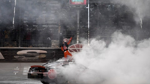 <p>               Christopher Bell stands on his car celebrating his win in the NASCAR Xfinity Series auto race at Texas Motor Speedway in Fort Worth, Texas, Saturday, Nov. 2, 2019. (AP Photo/Larry Papke)             </p>
