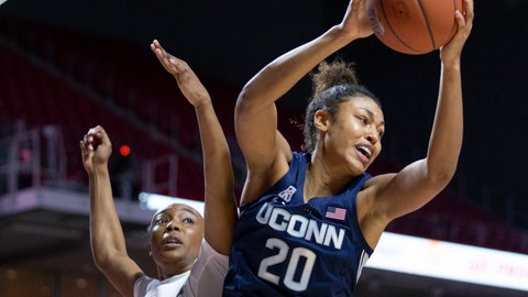 <p>               Connecticut forward Olivia Nelson-Ododa, right, grabs a rebound away from Temple forward Alexa Williamson, left, during the first half of an NCAA college basketball game Sunday, Nov. 17, 2019, in Philadelphia. (AP Photo/Laurence Kesterson)             </p>