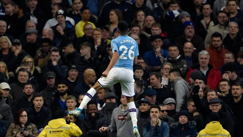 <p>               Manchester City's Riyad Mahrez celebrates after scoring his side's second goal during the English Premier League soccer match between Manchester City and Chelsea at Etihad stadium in Manchester, England, Saturday, Nov. 23, 2019. (AP Photo/Rui Vieira)             </p>