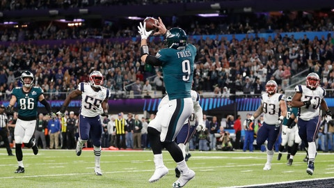 <p>               FILE - In this Feb. 4, 2018, file photo, Philadelphia Eagles' Nick Foles catches a touchdown pass during the first half of the NFL Super Bowl 52 football game against the New England Patriots, in Minneapolis. Rookie running back Corey Clement took the snap out of shotgun formation, rolled to his left and pitched the ball to third-string tight end Trey Burton, who caught it coming off the end, ran a few steps and floated a pass to backup quarterback Nick Foles in the end zone for a touchdown. Facing the mighty New England Patriots on the NFL's biggest stage, Philadelphia Eagles coach Doug Pederson's decision to try a trick play on a fourth down late in the first half of Super Bowl 52 will be remembered as one of the gutsiest calls in sports history. (AP Photo/Jeff Roberson, File)             </p>