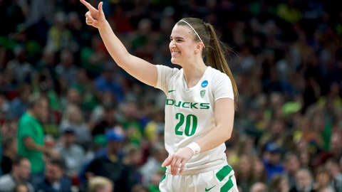<p>               FILE - In this March 29, 2019, file photo, Oregon guard Sabrina Ionescu gestures toward the bench during the second half of the team's regional semifinal against South Dakota State in the NCAA women's college basketball tournament, in Portland, Ore. Oregon is No. 1 for the first time in school history while Tennessee's streak of 42 straight appearances in The Associated Press preseason Top 25 is over. The Ducks, led by sensational guard Sabrina Ionescu, garnered 25 of the 28 first-place votes from the national media panel to earn the top ranking in the poll released Wednesday, Oct. 30, 2019. (AP Photo/Craig Mitchelldyer, File)             </p>