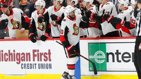 <p>               Ottawa Senators left wing Anthony Duclair (10) celebrates his goal against the Detroit Red Wings during the second period of an NHL hockey game Tuesday, Nov. 19, 2019, in Detroit. (AP Photo/Paul Sancya)             </p>