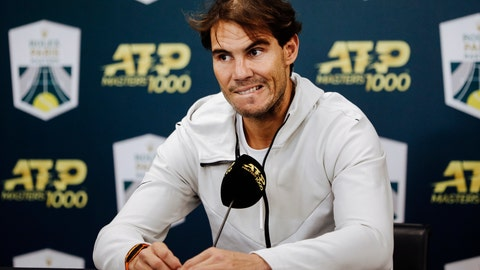 <p>               Spain's Rafael Nadal speaks during a press conference after pulling out of the Paris Masters tennis tournament in Paris, Saturday, Nov. 2, 2019, due to an injury. (AP Photo/Kamil Zihnioglu)             </p>