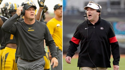 <p>               FILE - At left, in a Sept. 21, 2019, file photo, Missouri head coach Barry Odom watches a replay on the scoreboard during the first quarter of an NCAA college football game against South Carolina, in Columbia, Mo. At right, in a Nov. 2, 2019, file photo, Georgia head coach Kirby Smart directs his team against Florida during the second half of an NCAA college football game, in Jacksonville, Fla. When Southeastern Conference coaches gather and Georgia's Kirby Smart wants to talk defense, he looks for Missouri's Barry Odom. Both were defensive coordinators before being hired to take over programs at their alma maters. One more similarity: Smart and Odom bring the SEC's top defenses into Saturday night's important Eastern Division game. (AP Photo/File)             </p>