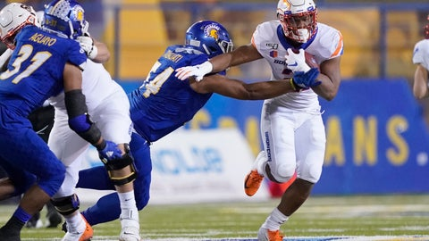 <p>               Boise State running back Andrew Van Buren (21) breaks a tackle by San Jose State defensive lineman Demanuel Talauati (54) during the first half of an NCAA college football game, in San Jose, Calif., Saturday, Nov. 2, 2019. (AP Photo/Tony Avelar)             </p>