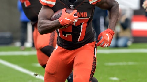 <p>               Cleveland Browns running back Kareem Hunt (27) rushes against the Buffalo Bills during the first half of an NFL football game, Sunday, Nov. 10, 2019, in Cleveland. (AP Photo/David Richard)             </p>