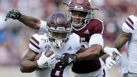 <p>               Mississippi State running back Kylin Hill (8) tries to fight off a tackle by Texas A&M defensive back Clifford Chattman (22) during the second half of an NCAA college football game, Saturday, Oct. 26, 2019, in College Station, Texas. (AP Photo/Sam Craft)             </p>
