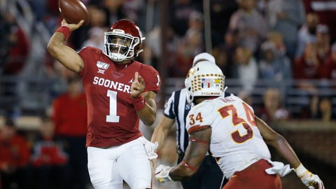 <p>               Oklahoma quarterback Jalen Hurts (1) throws under pressure from Iowa State linebacker O'Rien Vance (34) during the third quarter of an NCAA college football game in Norman, Okla., Saturday, Nov. 9, 2019. (AP Photo/Sue Ogrocki)             </p>