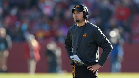 <p>               Iowa State head coach Matt Campbell looks to the scoreboard after Kansas scored a touchdown during the second half of an NCAA college football game, Saturday, Nov. 23, 2019, in Ames, Iowa. Iowa State won 41-31. (AP Photo/Matthew Putney)             </p>