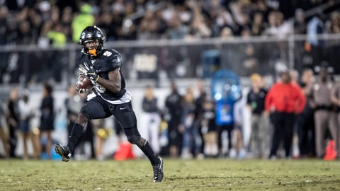 <p>               Central Florida running back Adrian Killins Jr. (9) breaks into the open field during the first half of the team's NCAA college football game against South Florida, Friday, Nov. 29, 2019, in Orlando, Fla. (AP Photo/Willie J. Allen Jr.)             </p>