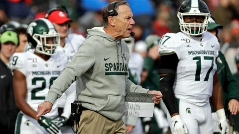 <p>               Michigan State head coach Mark Dantonio argues a call during the first half of an NCAA college football game against Rutgers on Saturday, Nov. 23, 2019, in Piscataway, N.J. Michigan State won 27-0. (AP Photo/Adam Hunger)             </p>