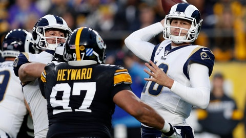 <p>               Los Angeles Rams quarterback Jared Goff (16) looks to throw a pass under pressure from Pittsburgh Steelers defensive end Cameron Heyward (97) during the first half of an NFL football game against the Pittsburgh Steelers in Pittsburgh, Sunday, Nov. 10, 2019. (AP Photo/Keith Srakocic)             </p>