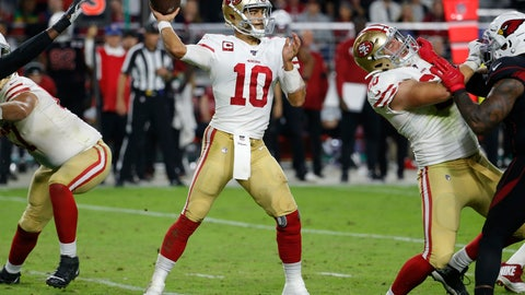 <p>               San Francisco 49ers quarterback Jimmy Garoppolo (10) throws against the Arizona Cardinals during the second half of an NFL football game, Thursday, Oct. 31, 2019, in Glendale, Ariz. (AP Photo/Rick Scuteri)             </p>