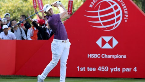 <p>               Matthew Fitzpatrick of England tees off for the HSBC Champions golf tournament held at the Sheshan International Golf Club in Shanghai on Friday, Nov. 1, 2019. (AP Photo/Ng Han Guan)             </p>