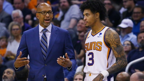 <p>               Phoenix Suns head coach Monty Williams, left, talks with Suns forward Kelly Oubre Jr. (3) during the first half of an NBA basketball game against the Philadelphia 76ers, Monday, Nov. 4, 2019, in Phoenix. (AP Photo/Ross D. Franklin)             </p>