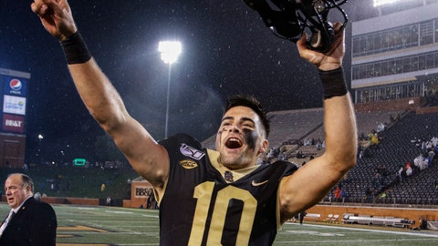 <p>               Wake Forest quarterback Sam Hartman celebrates after Wake Forest defeated Florida State 22-20 in an NCAA college football game, in Winston-Salem, N.C., Saturday, Oct. 19, 2019. (AP Photo/Nell Redmond)             </p>