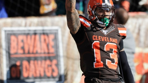 <p>               Cleveland Browns wide receiver Odell Beckham Jr. (13) celebrates after a touchdown during the first half of an NFL football game against the Miami Dolphins, Sunday, Nov. 24, 2019, in Cleveland. (AP Photo/Ron Schwane)             </p>