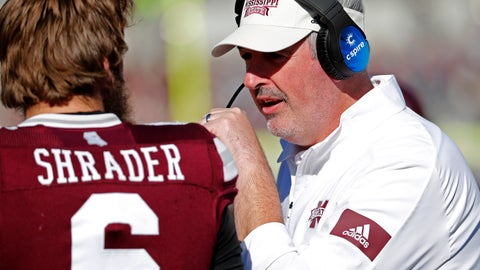 <p>               Mississippi State head coach Joe Moorhead, right, confers with quarterback Garrett Shrader (6) during the second half of an NCAA college football game against Alabama in Starkville, Miss., Saturday, Nov. 16, 2019. Alabama won 38-7. (AP Photo/Rogelio V. Solis)             </p>