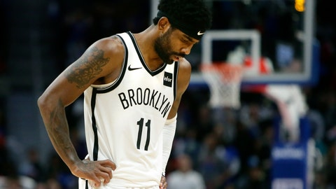 <p>               Brooklyn Nets guard Kyrie Irving (11) looks away after his team was whistled for a foul late in the fourth quarter of an NBA basketball game against the Detroit Pistons Saturday, Nov. 2, 2019, in Detroit. (AP Photo/Duane Burleson)             </p>