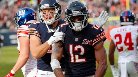 <p>               Chicago Bears wide receiver Allen Robinson (12) celebrates his touchdown with Jesper Horsted during the second half of an NFL football game against the New York Giants in Chicago, Sunday, Nov. 24, 2019. (AP Photo/Charles Rex Arbogast)             </p>