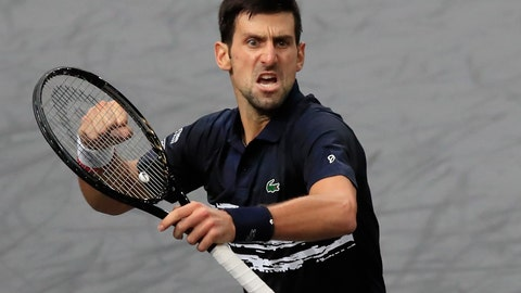 <p>               Serbia's Novak Djokovic reacts as hje making a point against Bulgaria's Grigor Dimitrov during their semifinal match of the Paris Masters tennis tournament in Paris, Saturday, Nov. 2, 2019. (AP Photo/Michel Euler)             </p>