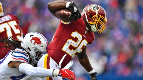 <p>               Washington Redskins running back Adrian Peterson (26) is tackled by Buffalo Bills middle linebacker Tremaine Edmunds (49) during the first half of an NFL football game, Sunday, Nov. 3, 2019, in Orchard Park, N.Y. (AP Photo/Adrian Kraus)             </p>