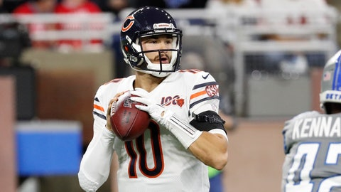 <p>               Chicago Bears quarterback Mitchell Trubisky throws during the first half of an NFL football game against the Detroit Lions, Thursday, Nov. 28, 2019, in Detroit. (AP Photo/Rick Osentoski)             </p>