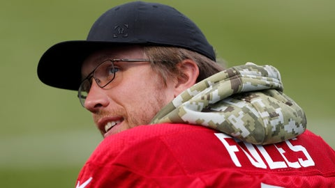 <p>               Jaguars QB Nick Foles during a NFL training session of the Jacksonville Jaguars at the at Allianz Park in London, Friday, Nov. 1, 2019.The Jacksonville Jaguars are preparing for an NFL regular season game against the Houston Texans in London on Sunday. (AP Photo/Frank Augstein)             </p>