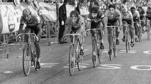 """<p>               FILE - In this July 18, 1972 file photo, cyclists (from left to right) Raymond Poulidor, France, Cyrille Guimard, France, Felice Gimondi, Italy , Eddy Merckx, Belgium and Julio Jimenez, Spain, lead the pack during the 14. stage of the Tour de France cycling race from Valloire-Le Galibier to Aix les Bains. Tour de France organizers have confirmed that former rider Raymond Poulidor, known as """"the eternal runner-up"""" behind five-time winners Jacques Anquetil and Eddy Merckx, has died. He was 83 years old.( AP Photo, File)             </p>"""