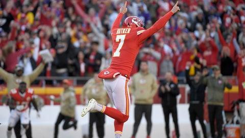 <p>               Kansas City Chiefs kicker Harrison Butker (7) celebrates his winning field goal against the Minnesota Vikings during the second half of an NFL football game in Kansas City, Mo., Sunday, Nov. 3, 2019. (AP Photo/Reed Hoffmann)             </p>