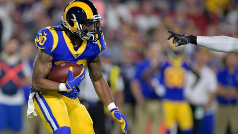 <p>               Los Angeles Rams running back Todd Gurley runs against the Chicago Bears during the first half of an NFL football game Sunday, Nov. 17, 2019, in Los Angeles. (AP Photo/Kyusung Gong)             </p>