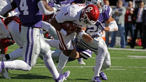 <p>               Oklahoma quarterback Jalen Hurts (1) gets past Kansas State defensive back Denzel Goolsby (20) to score a touchdown during the first half of an NCAA college football game Saturday, Oct. 26, 2019, in Manhattan, Kan. (AP Photo/Charlie Riedel)             </p>