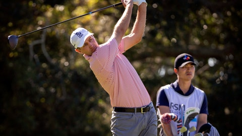 <p>               Brendon Todd watches is tee shot on the second hole during the third round of the RSM Classic golf tournament in St. Simons Island, Ga., Saturday, Nov., 23, 2019. (AP Photo/Stephen B. Morton)             </p>
