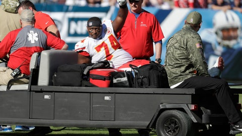 <p>               Kansas City Chiefs offensive guard Martinas Rankin is taken off the field after being injured in the first half of an NFL football game against the Tennessee Titans Sunday, Nov. 10, 2019, in Nashville, Tenn. (AP Photo/James Kenney)             </p>