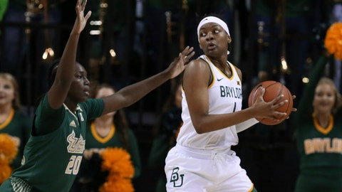 <p>               Baylor forward NaLyssa Smith, right, looks to the basket over South Florida forward Bethy Mununga, left, in the first half of an NCAA college basketball game, Tuesday, Nov. 19, 2019, in Waco, Texas. (AP Photo/Rod Aydelotte)             </p>