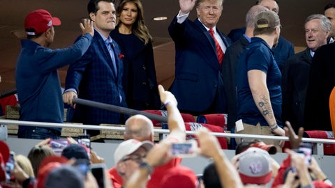 <p>               President Donald Trump and first lady Melania Trump, third from left, arrive for Game 5 of the World Series baseball game between the Houston Astros and the Washington Nationals at Nationals Park in Washington, Sunday, Oct. 27, 2019. Also pictured are Rep. Matt Gaetz, R-Fla., second from left, and Rep. Mark Meadows, R-N.C, right. (AP Photo/Andrew Harnik)             </p>