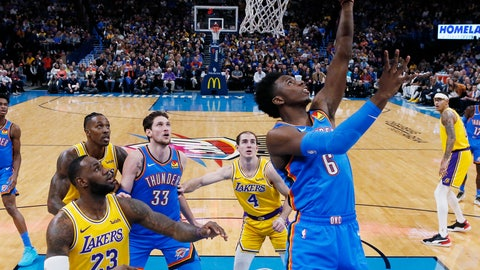 <p>               Oklahoma City Thunder guard Hamidou Diallo (6) shoots in front of Los Angeles Lakers forward LeBron James (23) and guard Alex Caruso (4) during the fist half of an NBA basketball game Friday, Nov. 22, 2019, in Oklahoma City. (AP Photo/Sue Ogrocki)             </p>