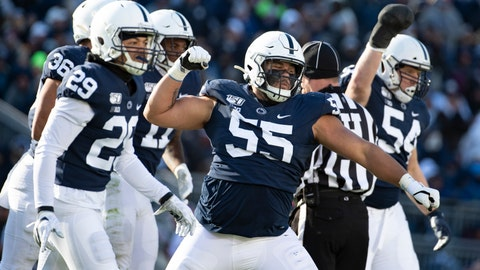 <p>               Penn State defensive tackle Antonio Shelton (55) celebrates after stopping Indiana tight end Peyton Hendershot (86) on a fake punt in the third quarter of an NCAA college football game in State College, Pa., on Saturday, Nov.16, 2019. Penn State defeated 34-27. (AP Photo/Barry Reeger)             </p>