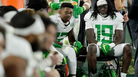 <p>               Oregon players sit on the bench during the second half of the team's NCAA college football game against Arizona State, Saturday, Nov. 23, 2019, in Tempe, Ariz. Arizona State won 31-28. (AP Photo/Matt York)             </p>