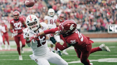<p>               Washington State cornerback Armani Marsh (35) disrupts a pass intended for Stanford wide receiver Simi Fehoko (13) during the first half of an NCAA college football game in Pullman, Wash., Saturday, Nov. 16, 2019. (AP Photo/Young Kwak)             </p>