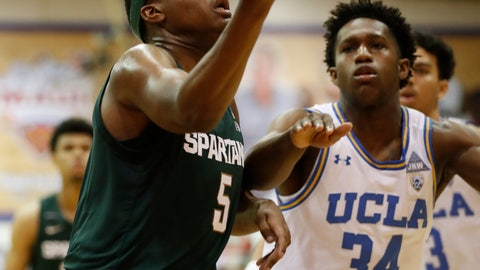 <p>               Michigan State guard Cassius Winston (5) heads for the basket ahead of  UCLA guard David Singleton (34) during the first half of an NCAA college basketball game Wednesday, Nov. 27, 2019, in Lahaina, Hawaii. (AP Photo/Marco Garcia)             </p>