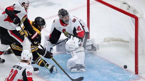 <p>               Boston Bruins right wing David Pastrnak (88) beats Ottawa Senators goaltender Craig Anderson (41) for a goal during the first period of an NHL hockey game in Boston, Saturday, Nov. 2, 2019. (AP Photo/Charles Krupa)             </p>