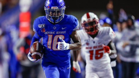 <p>               Boise State wide receiver John Hightower (16) runs away from the New Mexico defense for a 51-yard touchdown reception during the first half of an NCAA college football game Saturday, Nov. 16, 2019, in Boise, Idaho. (AP Photo/Steve Conner)             </p>
